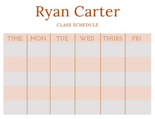 Orange Weekly School Class Schedule 일정