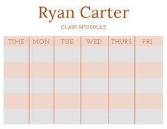 Orange Weekly School Class Schedule Education