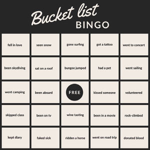 Black and White Bucket List Bingo Card Carta da bingo