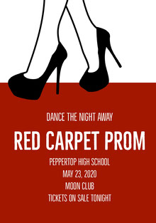 Black White and Claret Prom Poster School Posters