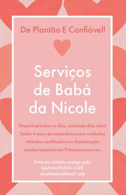 Serviços <BR>de Babá <BR>da Nicole Panfletos