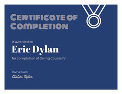 White and Navy Blue Award Certificate Educational Course