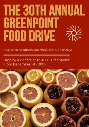 Orange Food Donation Event Flyer Eventplakat