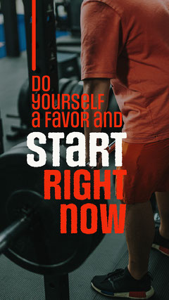 Red and White Start Right Now Fitness Quote Instagram Story Workout