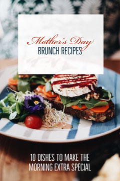 Mothers Day Brunch Recipes Pinterest Graphic with Food on Plate Brunch