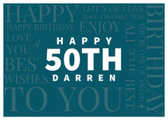 Teal Modern Typography Happy 50th Birthday Card Teal