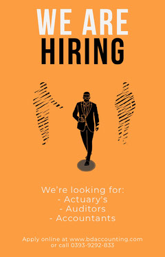 Orange Silhouette Open Position Hiring Poster Job Poster
