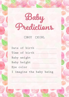 Pink Baby Shower Predictions Game Card Baby Shower
