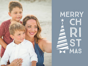 Blue and White Minimalistic Family Christmas Card Kerstkaart
