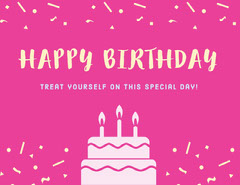 Pink Illustrated Birthday Coupon with Cake and Confetti Birthday