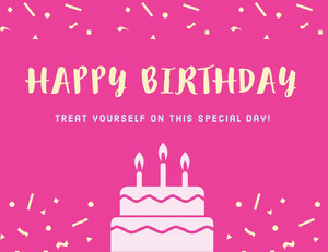 Pink Illustrated Birthday Coupon with Cake and Confetti Bon