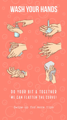 Red and White Wash Your Hands Poster Poster