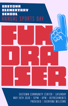 Blue and Red Sports Day Fundraiser Poster Sports