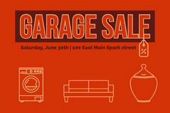 Red Illustrated Garage Sale Flyer  Yard Sale Flyer