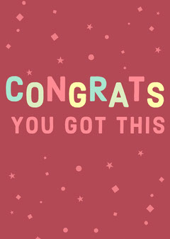 Pink and Colorful Congratulations Card Congratulation