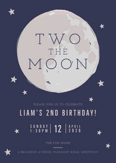 Two The Moon Birthday Invitation Moon