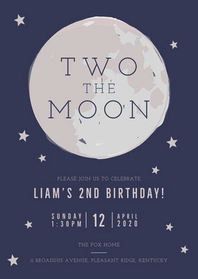 Two The Moon Birthday Invitation Convite de aniversário