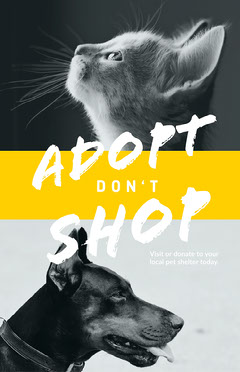 Black and White with Yellow Adopt Don't Shop Pet Shelter Flyer Instagram Flyer