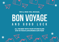 Blue and White Bon Voyage Card Planes