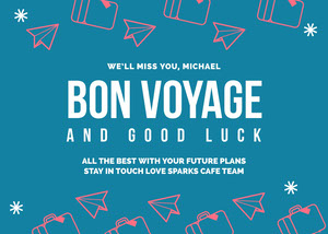 Blue and White Bon Voyage Card Good Luck Card