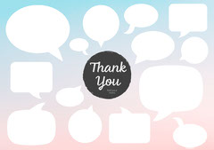 Pink and Blue Gradient Thank You Speech Bubbles Graphic Thank You Poster