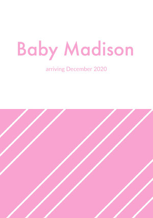 Pink Minimalist Striped Pregnancy Announcement Card Pregnancy Announcement