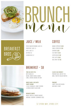 Green and White Brunch Menu Juice