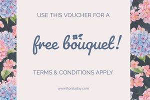 Blue and Pink Free Bouquet Florist Voucher Coupon Kupon