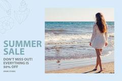 Blue, Light Toned Summer Sale Ad Facebook Banner Summer