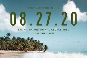 Light Toned, Tropical Style Wedding Invitation Facebook Banner Banner per matrimonio