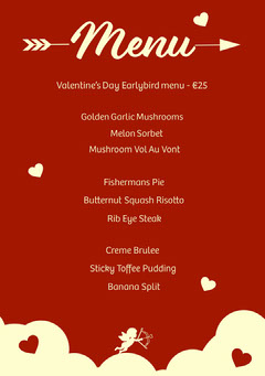 Valentines Menu  Heart
