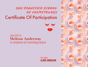 Red and Violet Award Certificate Certificate of Participation