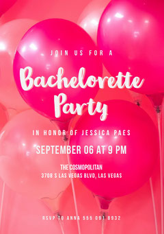 Pink and White Bachelorette Party Invitation Party