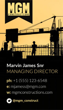 Black Yellow MGM Construction Business Card Construction