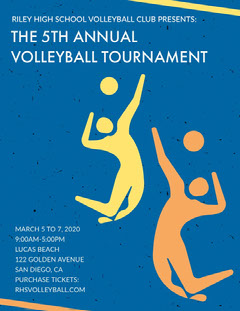 Blue and Yellow Illustrated School Team Volleyball Tournament Flyer Teams