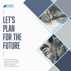Grey and Navy Diamond Grid Frames 'Let's Plan For The Future'  Instagram Square Retirement