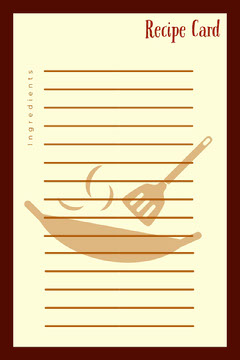 Brown Illustrated Blank Recipe Card with Wok Recipes