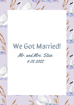 White and Violet Wedding Announcement Wedding Announcement