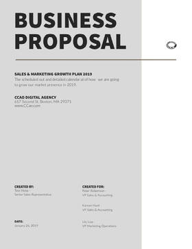 Gray Sales and Marketing Business Proposal 提案書