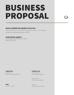 Gray Sales and Marketing Business Proposal Business Plan