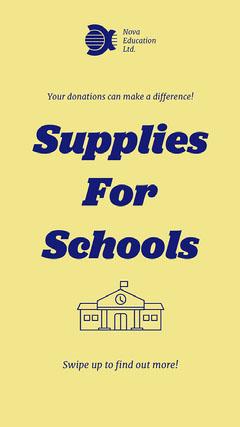 Blue & Yellow School Supplies Fundraiser Instagram Story Fundraiser