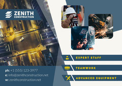 Blue and Yellow Construction Business Ad with Worker Photos Construction