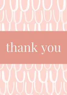Pink and White Thank You Card Tarjetas