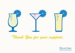 white blue yellow drinks thank you for your support card Cocktails