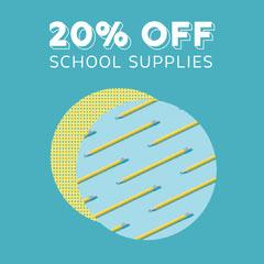 Blue Teal School Supplies Offer Instagram Square  Promotion