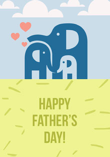 Blue and Yellow Illustrated Fathers Day Card with Elephant Family Cartões de Dia dos Pais