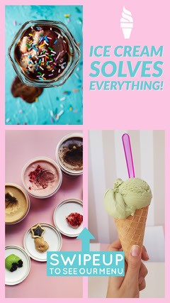 Pink and Blue Ice Cream Instagram Story Ice Cream Social Flyer