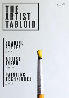 Yellow Paint Brush Minimalistic Modern Style Art Magazine Cover Paint
