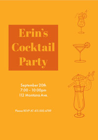 Orange and White Erin's Cocktail Party Invitation 生日派對邀請函