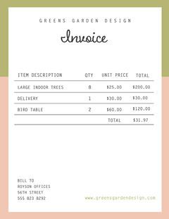 Pink, White & Green Garden Design Invoice Letter  Border